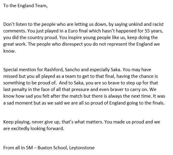 To the England Team